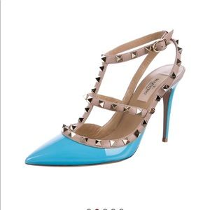 Valentino rockstud turquoise shoes 7